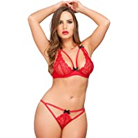 Lovehoney Lingerie Women's Red Lace Underwired Triangle Bra Set - Matching Crotchless G-String with Adjustable Ties