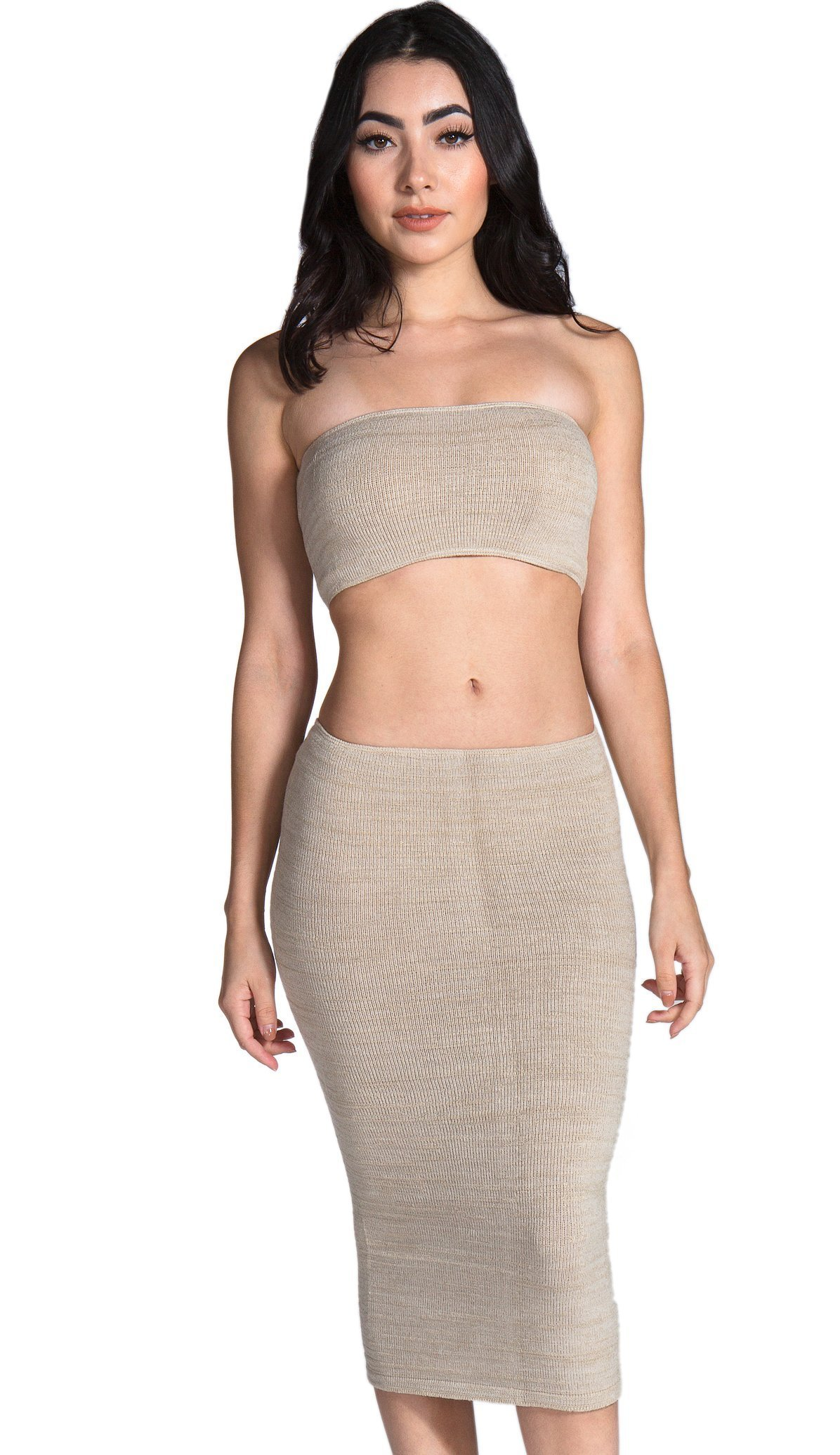 Olive Petite Stretch Knit Sexy Knee High Midi Sweater Dress & Matching Bandeau Tube Top Set by KD dance New York High Quality Made In USA