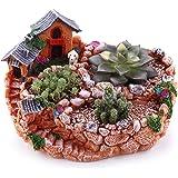 """T4U 9""""Country Landscape Style House&Fields Sucuulent Cactus Plant Pots Flower Pots Planters DIY Containers Window Boxes Orange"""