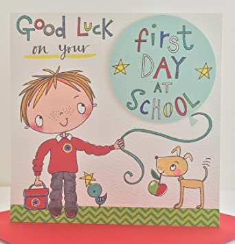 Good luck on your first day at school greeting card by rachel m4hsunfo