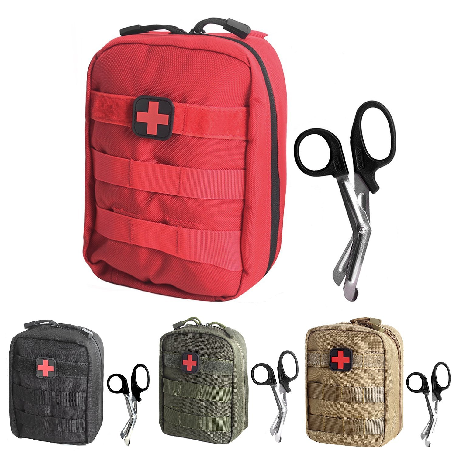 Tactical MOLLE EMT Medical First Aid IFAK Utility Pouch Bag (RED with First Aid Patch)