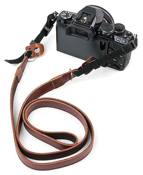DURAGADGET Correa de Cuero marrón para Cámara Fujifilm X-T30, Sony ...