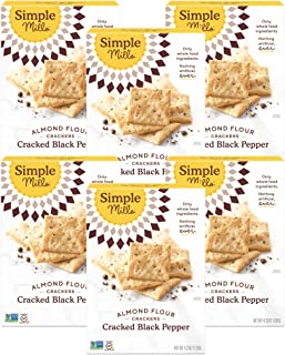 product image for Simple Mills Almond Flour Crackers, Black Cracked Pepper, Gluten Free, Flax Seed, Sunflower Seeds, Corn Free, Good for Snacks, Made with whole foods, 6 Count (Packaging May Vary)