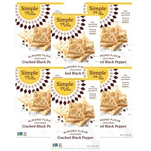 Simple Mills Almond Flour Crackers, Black Cracked Pepper, Gluten Free, Flax Seed, Sunflower Seeds, Corn Free, Good for Snacks, Made with whole foods, 6 Count (Packaging May Vary)