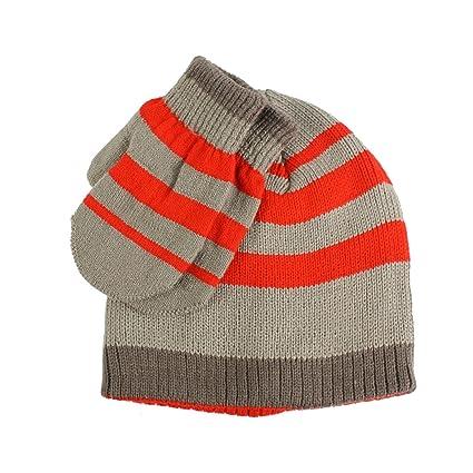 883a9ad0345 Winter 2pc Stripe Soft Baby Boys Age 0-2 Knit Beanie Hat Mitten Gloves Set