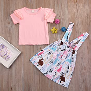 Ripped Denim Shorts 6M-5T Toddle Baby Girl Summer Short Sets Matching Cherry Fly Sleeve Tops