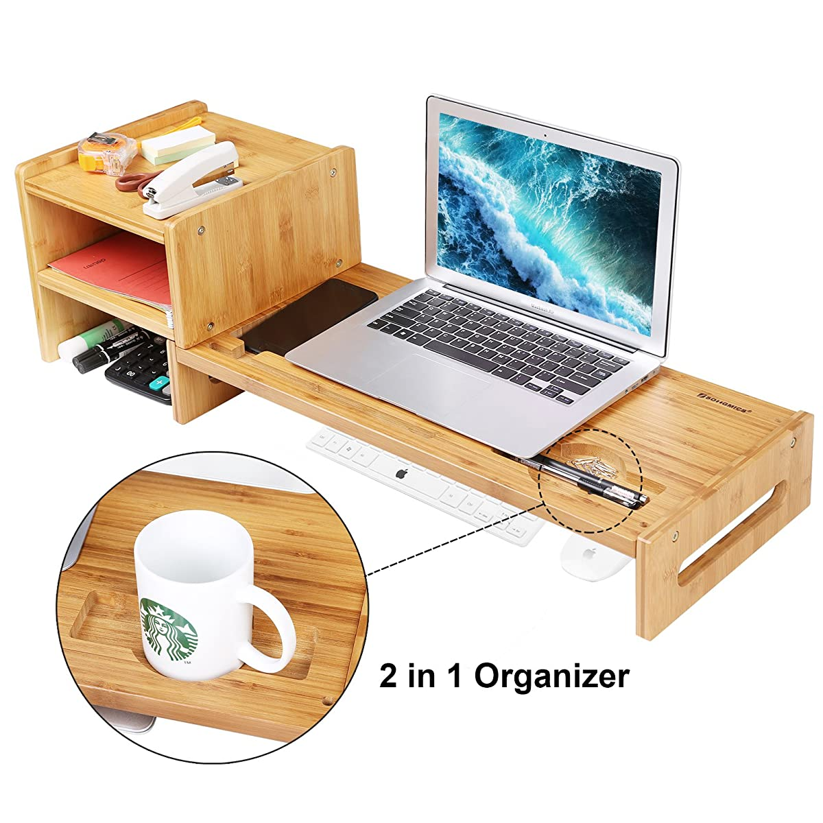 SONGMICS Bamboo Monitor Stand Riser Laptop Cellphone TV Printer Stand with 2-Tier Desktop Storage Organizer Patented ULLD217
