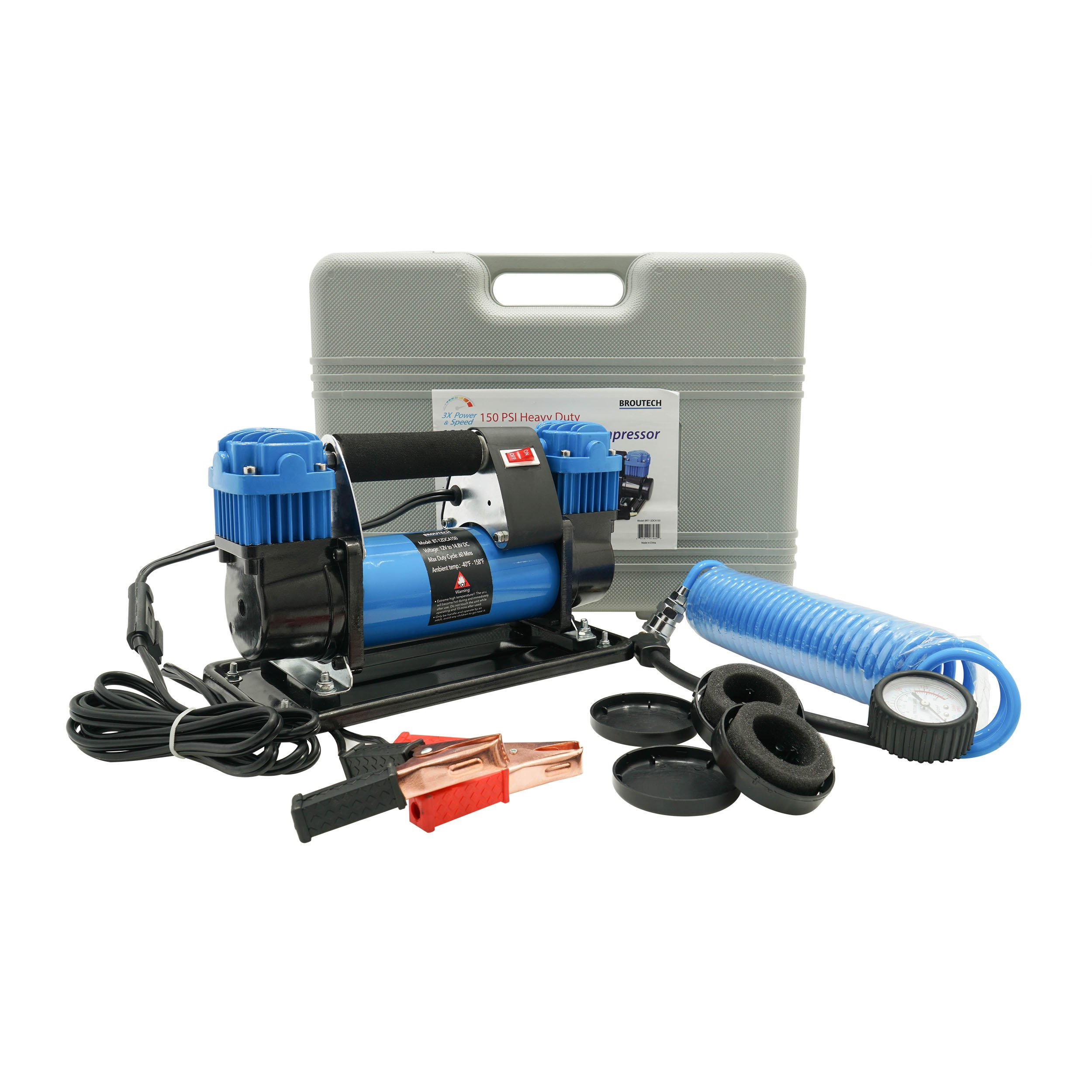 BROUTECH 12DCA150 Blue Portable Air Compressor Kit Tire Inflator (Automatic 12V Heavy Duty Dual Cylinder 150 PSI)