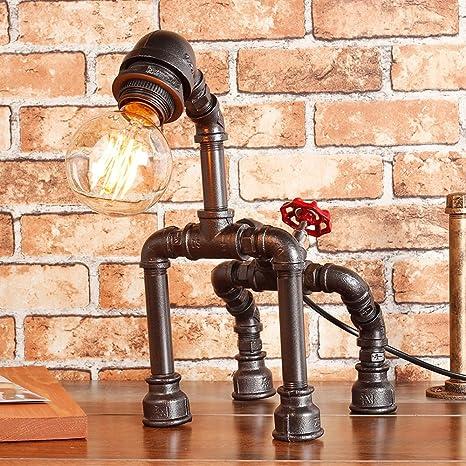 Wshfor Lampada Da Tavolo Retro Stile Industriale Fai Da Te Creativo Robot Segmento Tubo Di Acqua