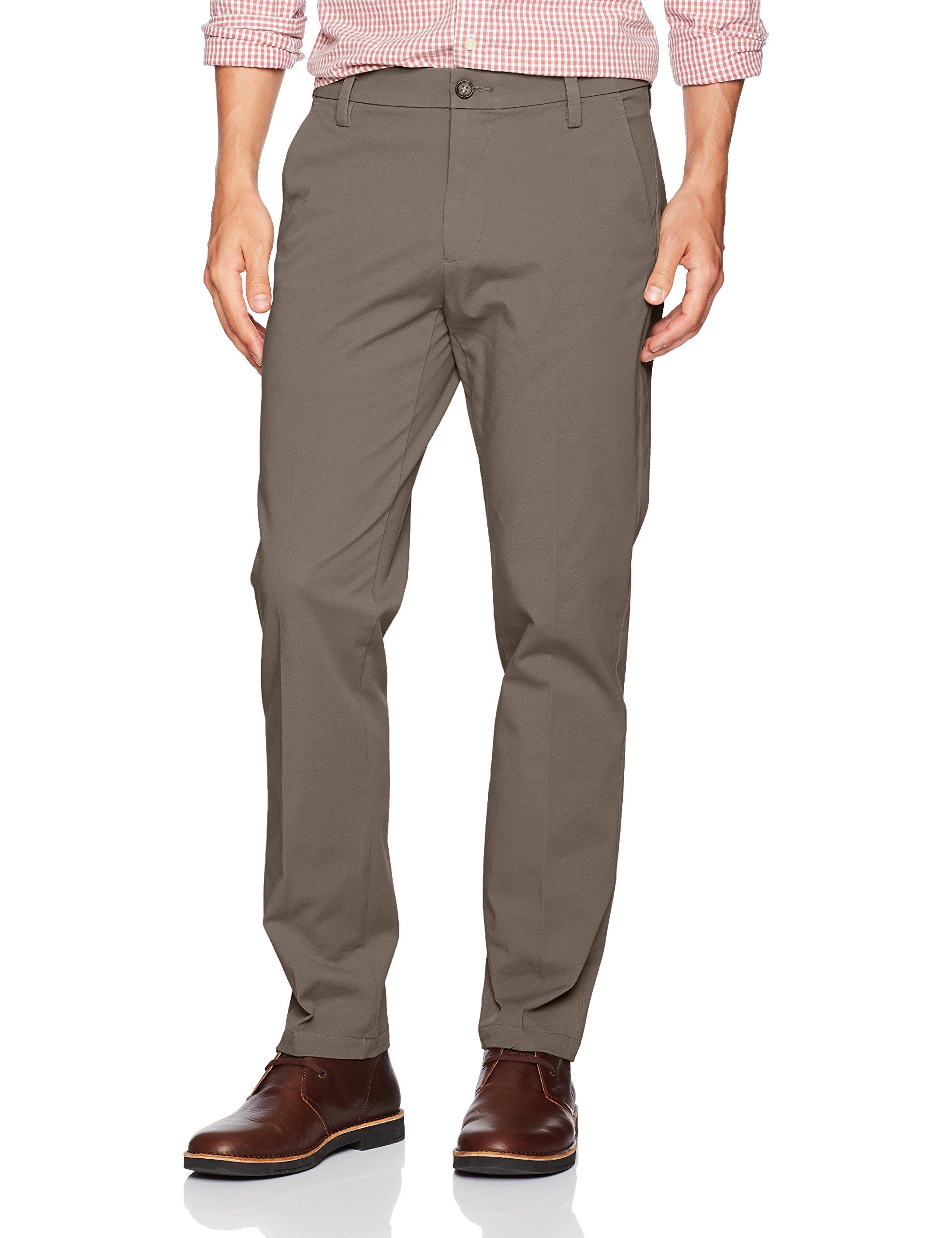 Dockers Men's Slim Tapered Fit Workday Khaki Smart 360 Flex Pants, Dark Pebble (Stretch), 34W x 32L
