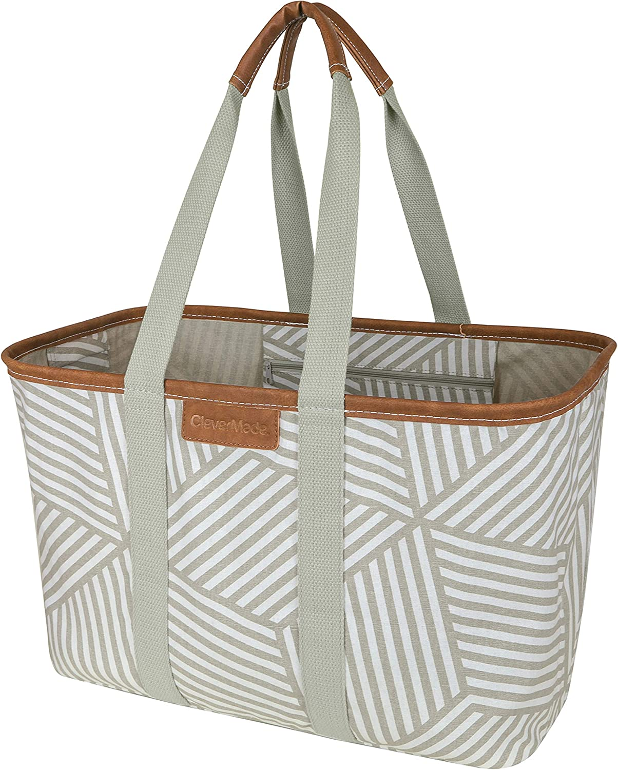 CleverMade 30L SnapBasket LUXE - Reusable Collapsible Durable Grocery Shopping Bag - Heavy Duty Large Structured Tote, Geometric Taupe