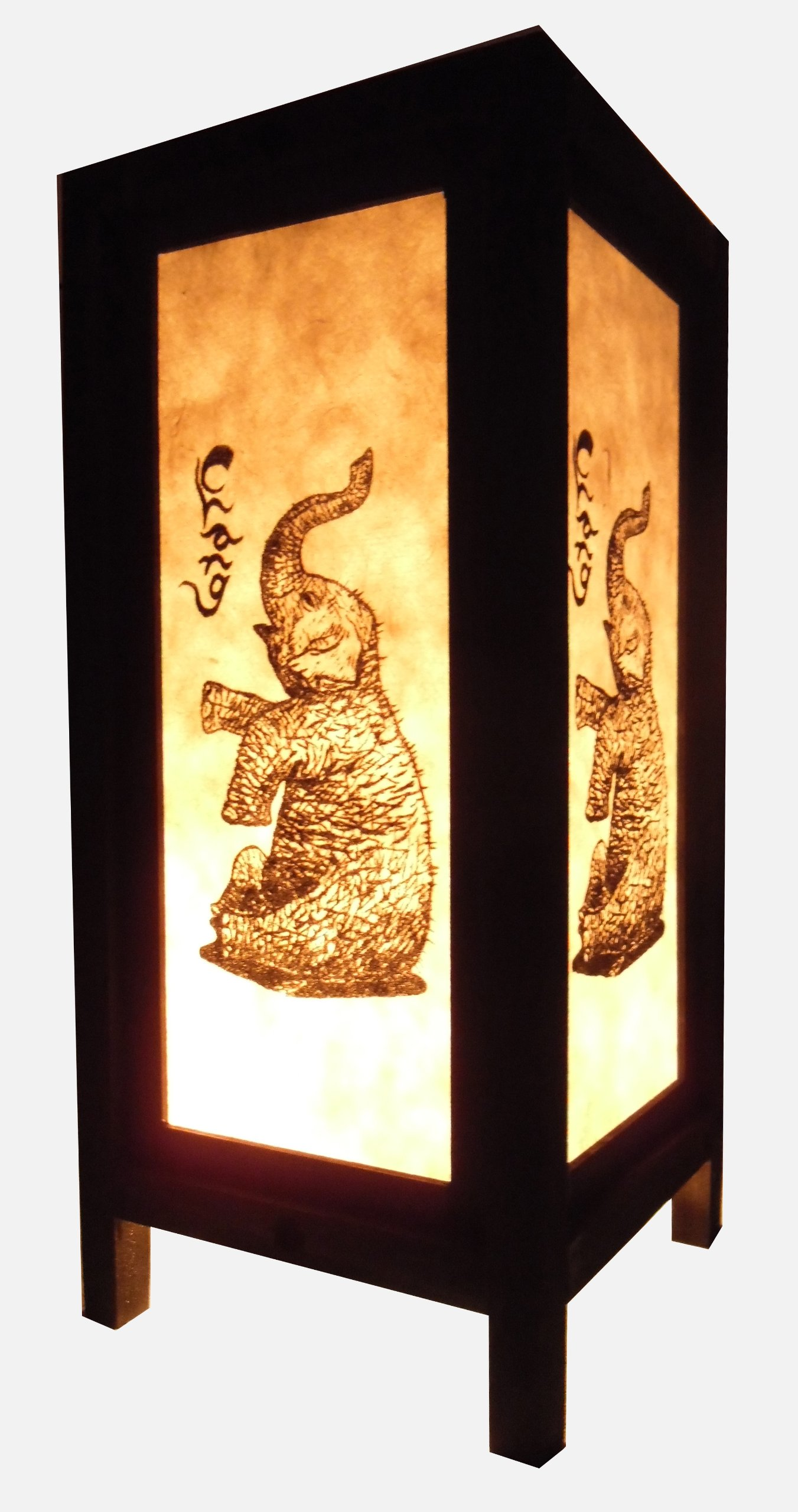 Thai Vintage Handmade Asian Oriental Elephant Bedside Table Light or Floor Wood Paper Lamp Shades Home Bedroom Garden Decor Modern Design from Thailand by Red berry Thailand Lanna Lamp