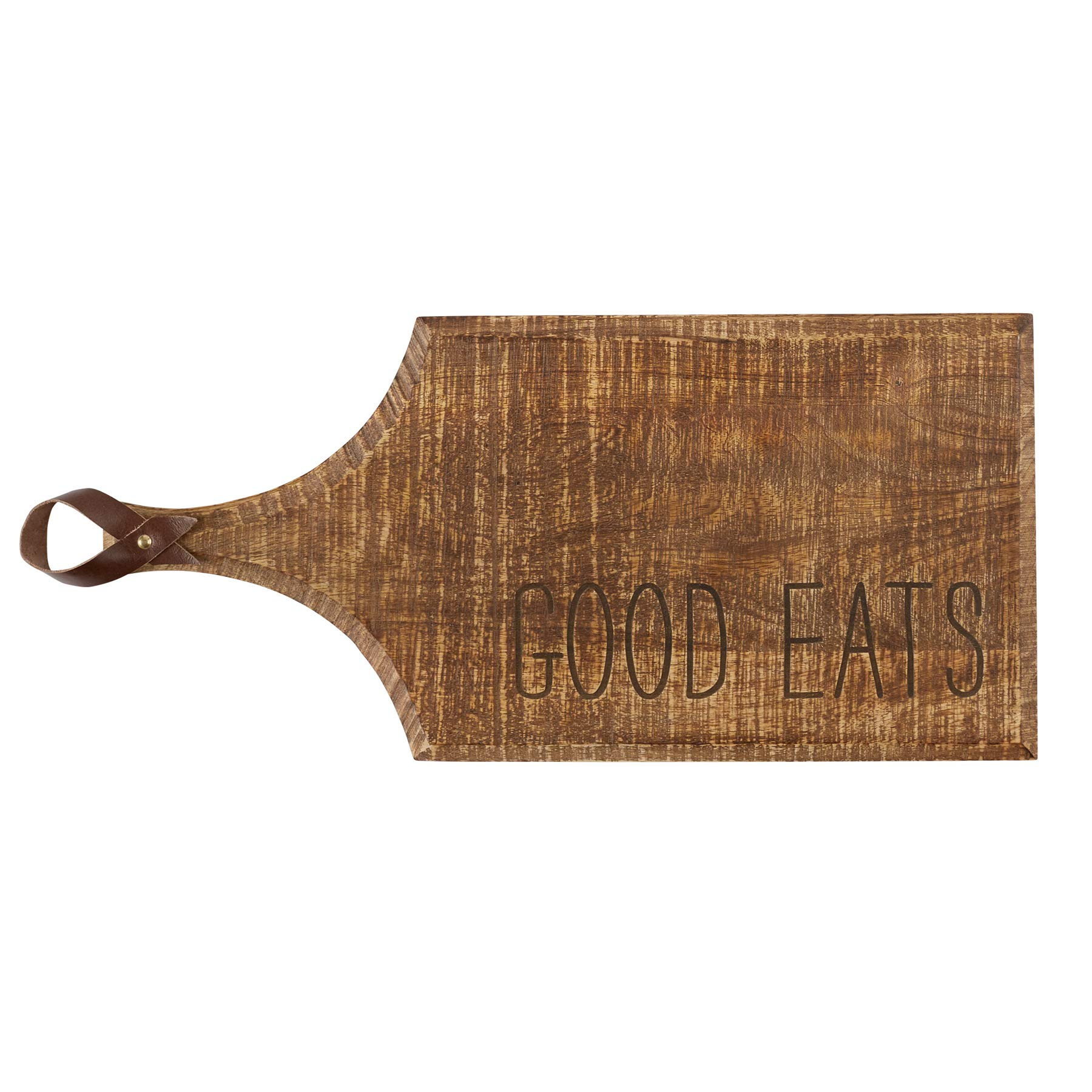 Mud Pie 47500016G Rustic Farmhouse Inspired Wood Good Eats Serving Board, One Size, by Mud Pie
