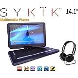 Sykik SYDVD0133 14.1'' Inch All multi region zone free HD swivel portable dvd player,USB,SD card slot with headphones, Ac adaptor ,car adaptor Remote control (one year waranty) Black