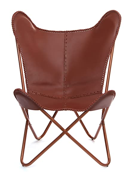 Karma Living BCCL_BR Butterfly Leather Chair, 26.5u0026quot; X 30u0026quot; ...