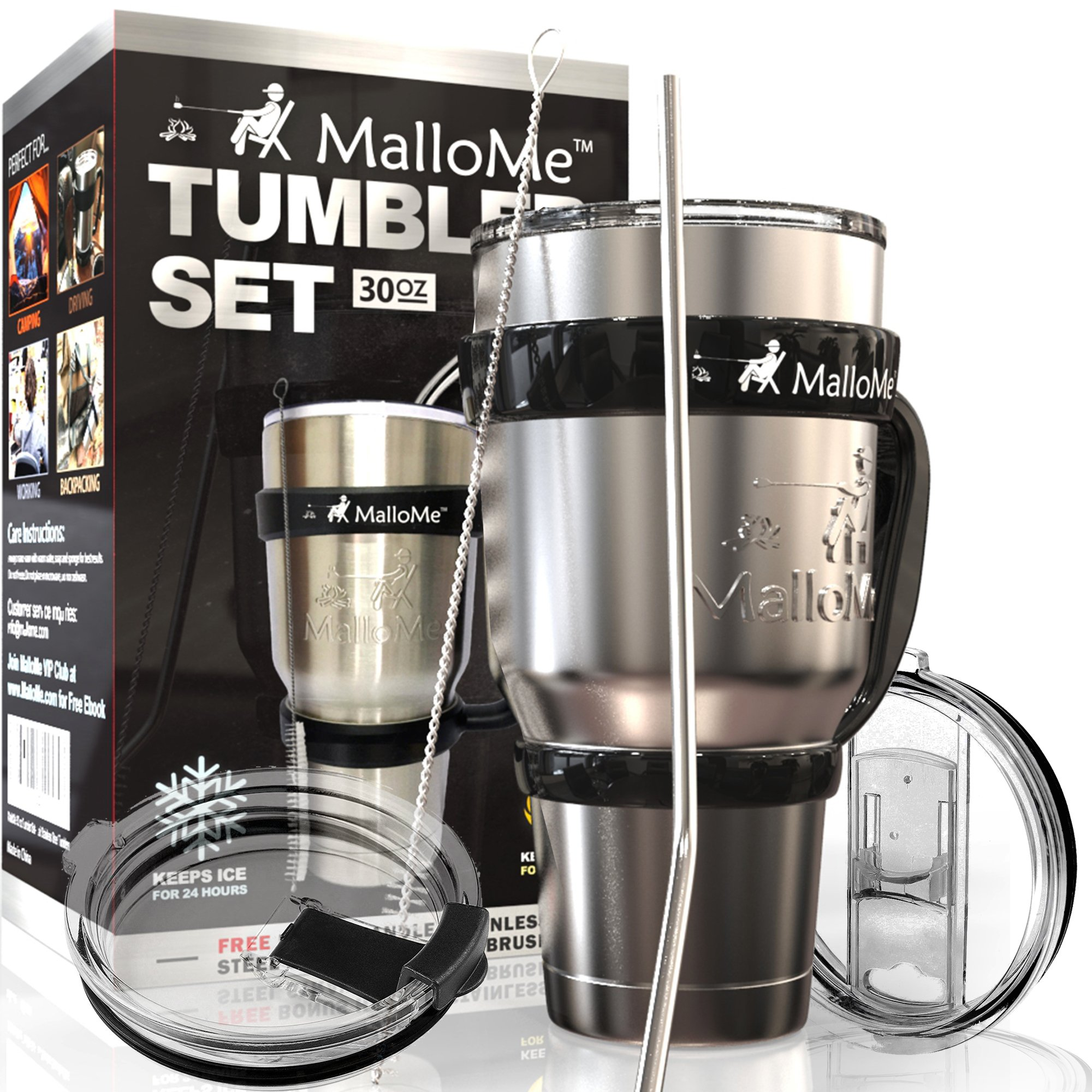 MalloMe Stainless Steel Vacuum Insulated 30 oz Water & Coffee Cup Tumbler Travel Mug, 6 Piece Set by MalloMe