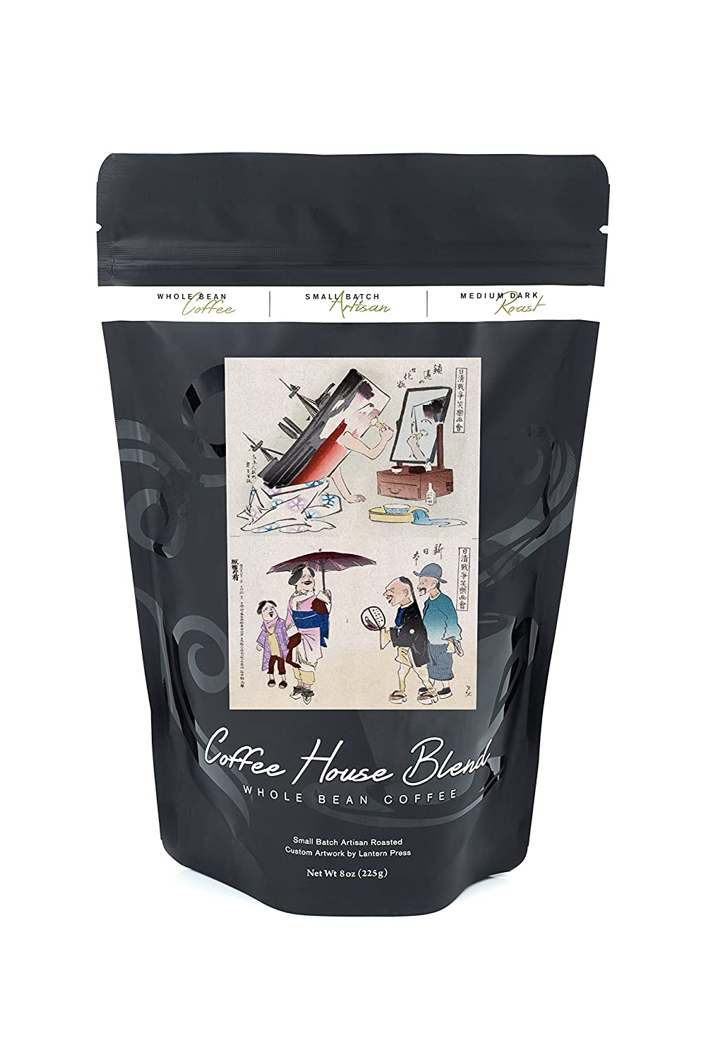 Applying Make-up and New Japan Japanese Wood-Cut Print (8oz Whole Bean Small Batch Artisan Coffee - Bold & Strong Medium Dark Roast w/ Artwork): Amazon.com: ...
