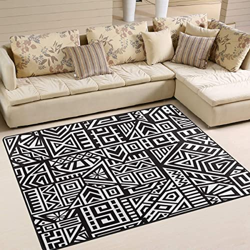 ALAZA Black White Tribal Aztec Area Rug Rug
