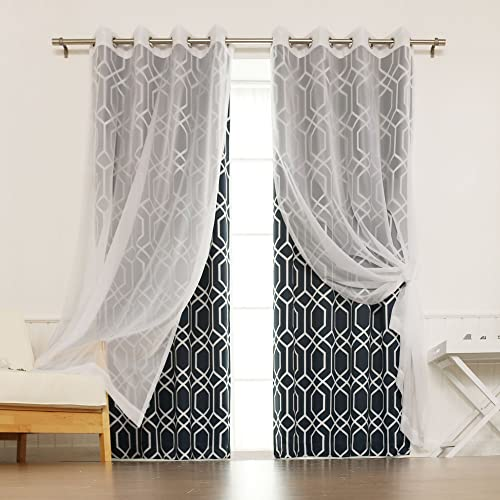 Best Home Fashion uMIXm Mix and Match Voile Sheer Geometric Trellis Room Darkening 4 Piece Curtain Set Stainless Steel Nickel Grommet Top Navy 52″ W x 84″ L Set of 4 Panel