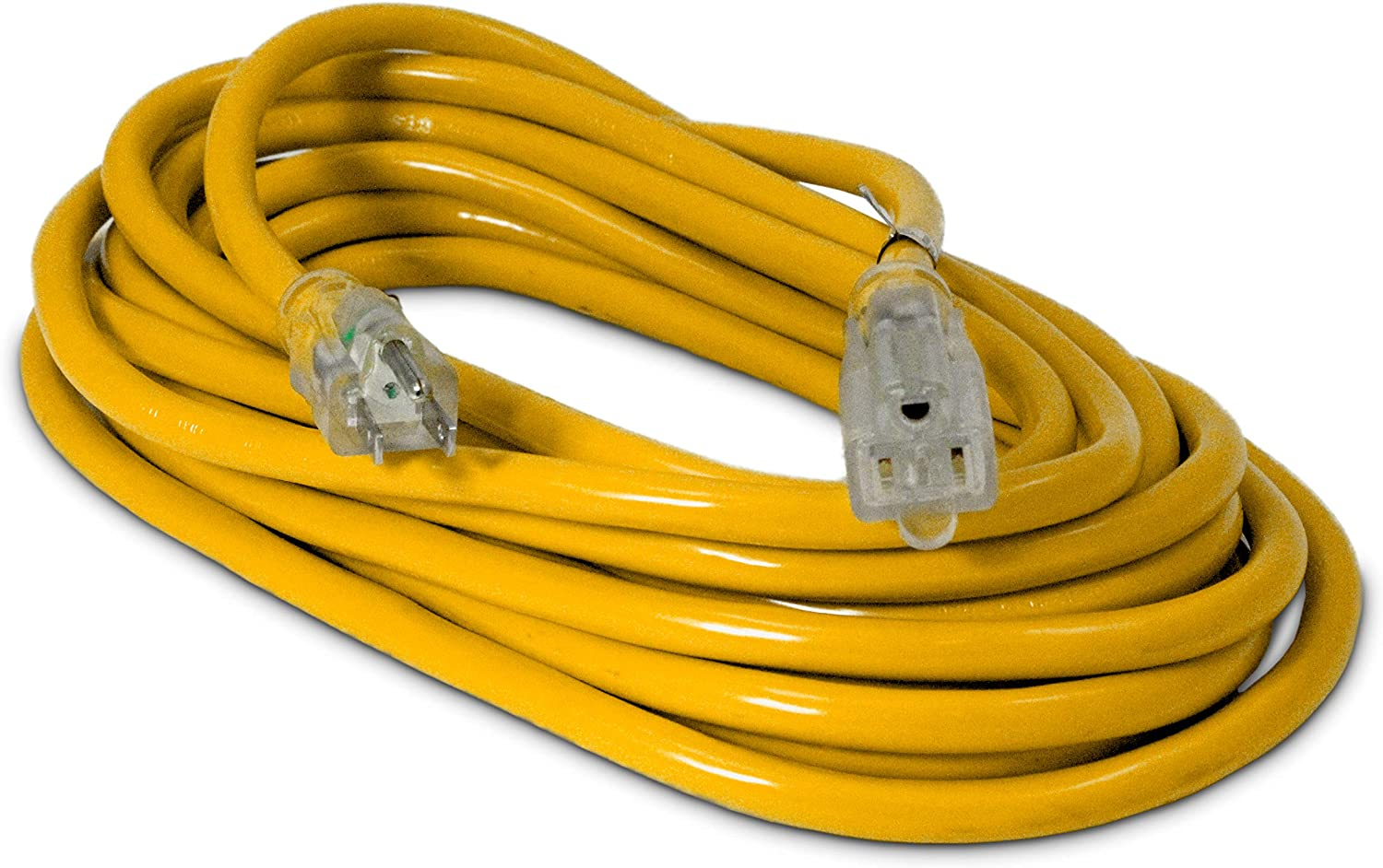 25-ft 12/3 Heavy Duty Lighted SJTW Indoor/Outdoor Extension Cord by Watt's Wire - Yellow 25' 12-Gauge Grounded 15-Amp Three-Prong Power-Cord (25 foot 12-Awg)