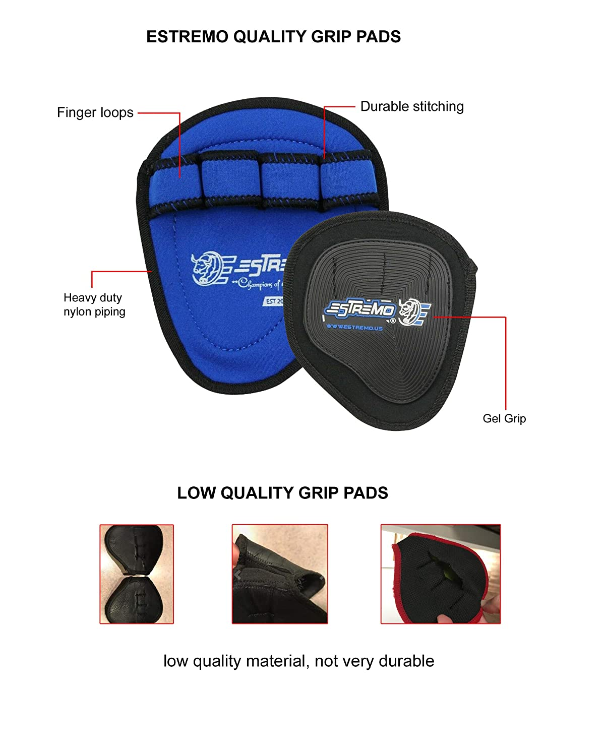 Non-Slip and Sweat Free Workout Grips for Weightlifting Ideal Full Palm Protection Grips ESTREMO Weightlifting Grip Pads