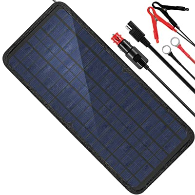 MOOLSUN 12 Volt 12v Solar Battery Charger, 10W Solar Car Battery Charger, Solar Trickle Charger, Solar Panel Battery Maintainer, Power Kit Portable Backup for Automotive, Motorcycle, Boat, Marine, RV: Home Audio & Theater