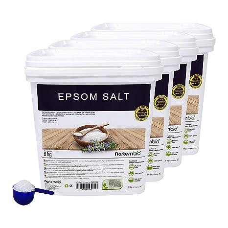 NortemBio Sal de Epsom 4x6 Kg, Fuente concentrada de Magnesio, Sales 100% Naturales