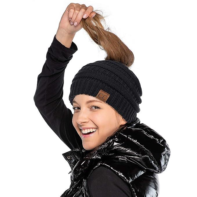 e86a2ea375fece C.C Soft Stretch Cable Knit Messy Bun Ponytail Beanie Winter Hat (MB-20A)