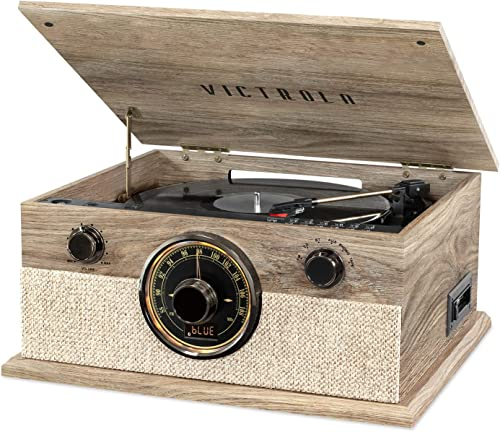 Victrola 6-in-1 Bluetooth Record Player with 3-Speed Turntable, CD, Cassette Player and AM FM Radio, Farmhouse Oatmeal