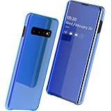 Samsung Galaxy S10 Case, Slim Smart Mirror Screen Cover and Leather Back Case, Clear View Window Full Body Protective Flip Case, Multi-Function Mirror Case For Samsung Galaxy S10 Case-Blue