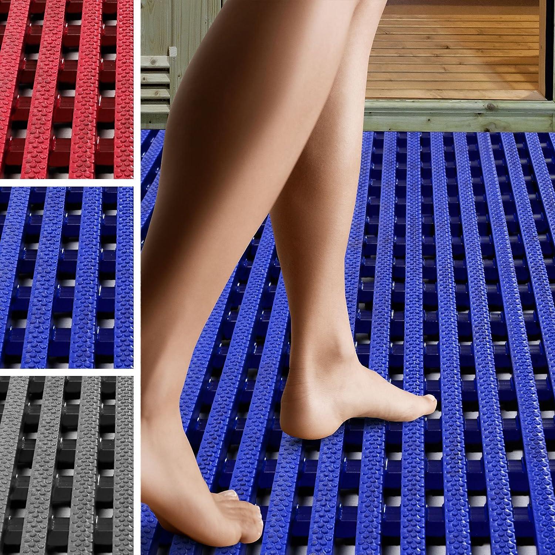 blau, 120x100cm viele Gr/ö/ßen antimikrobiell Antirutschmatte Aqua-Grip drei Farben f/ür Nassbereiche wie Schwimmb/äder und Duschen