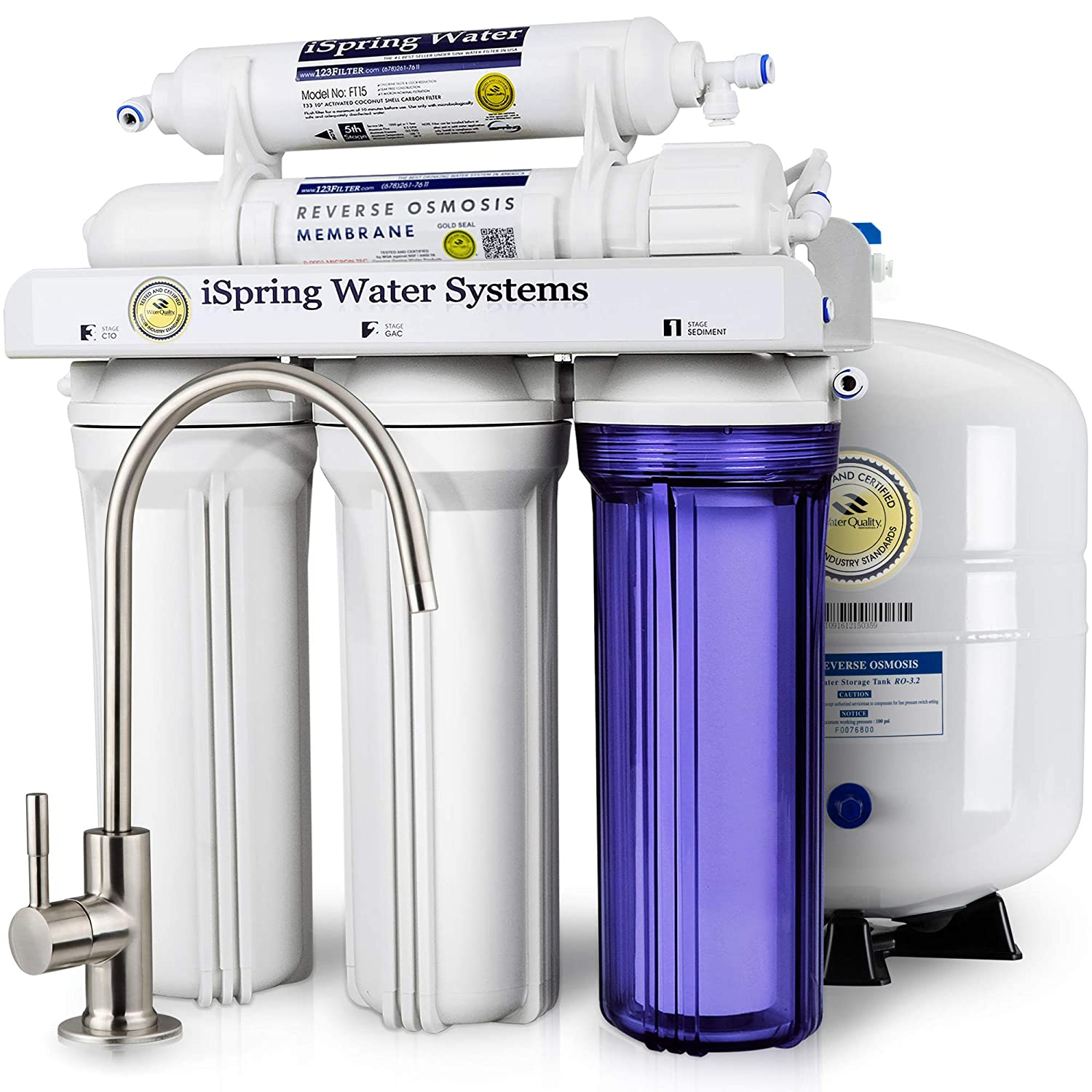 iSpring 5-Stage Prestige Top Purity Under Sink Reverse Osmosis Drinking Water Filter System WQA Gold Seal Certified (NSF/ANSI 58) - RCC7