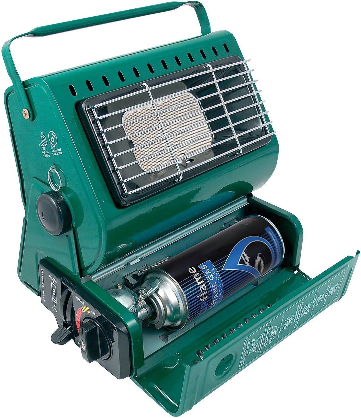 SDD Calentador de gas portátil para pesca al aire libre, camping, 1,3 kW, calentador de gas butano, compacto y ligero, + 4 recambios de gas