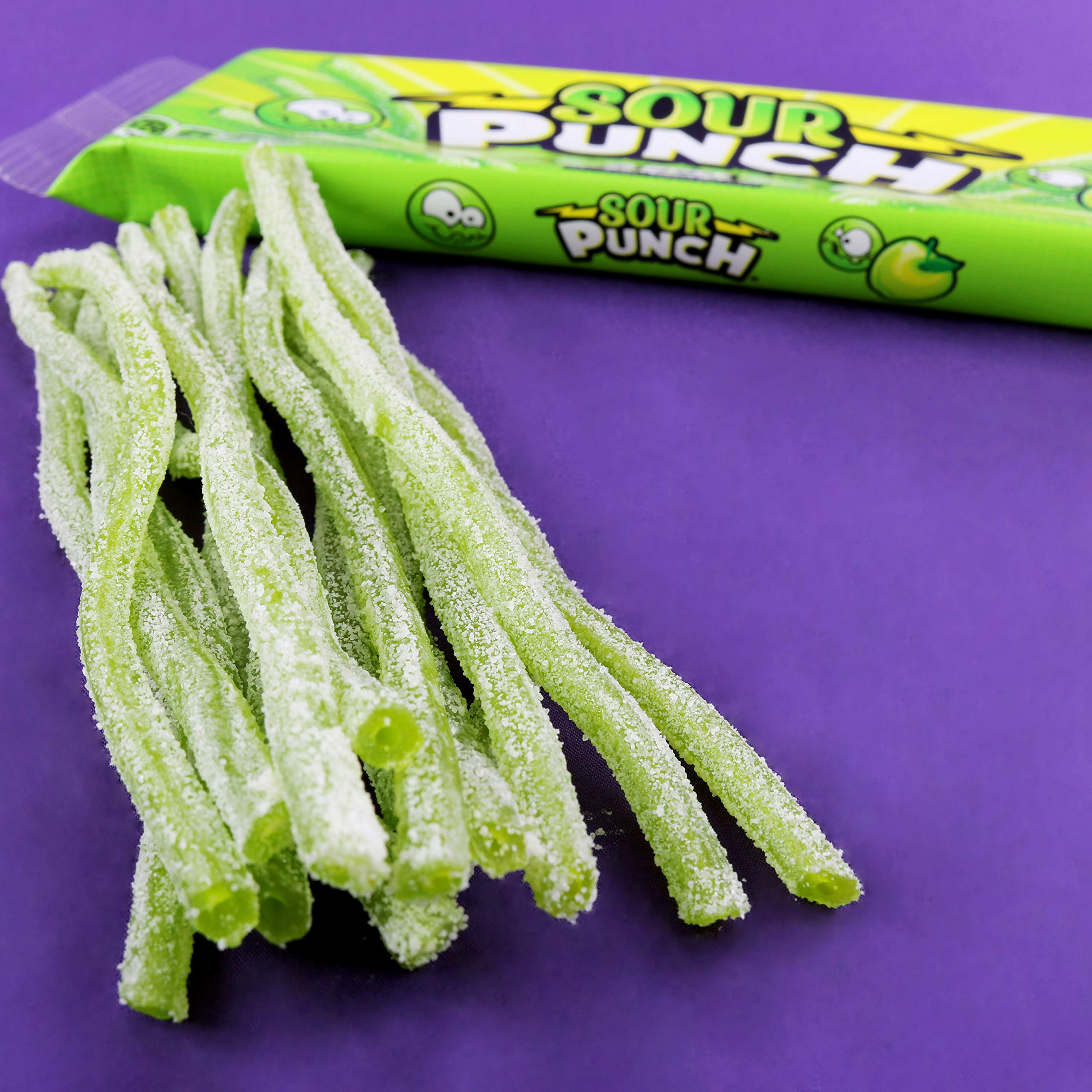 Sour Punch Straws, Sweet & Sour Apple Fruit Flavor, Chewy Candy, 4.5oz Tray (24 Pack) by Sour Punch (Image #4)