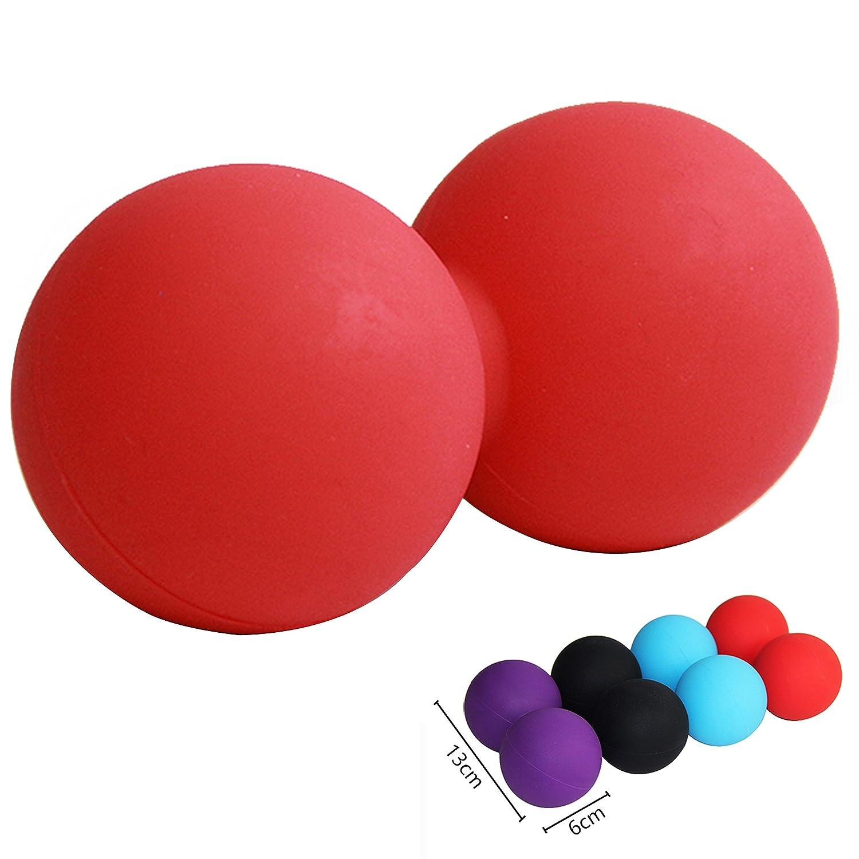 JOYOOO Peanut Massage Ball Rubber Back Massage Ball Trigger Ponit Lacrosse Ball Body Massage& Fitness Exercise Balls(Random Color)