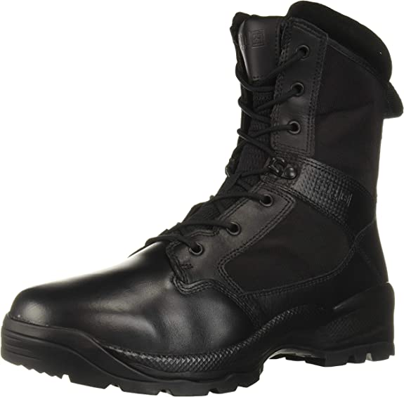 Image of a tactical long-shaft boot, in shiny black color.
