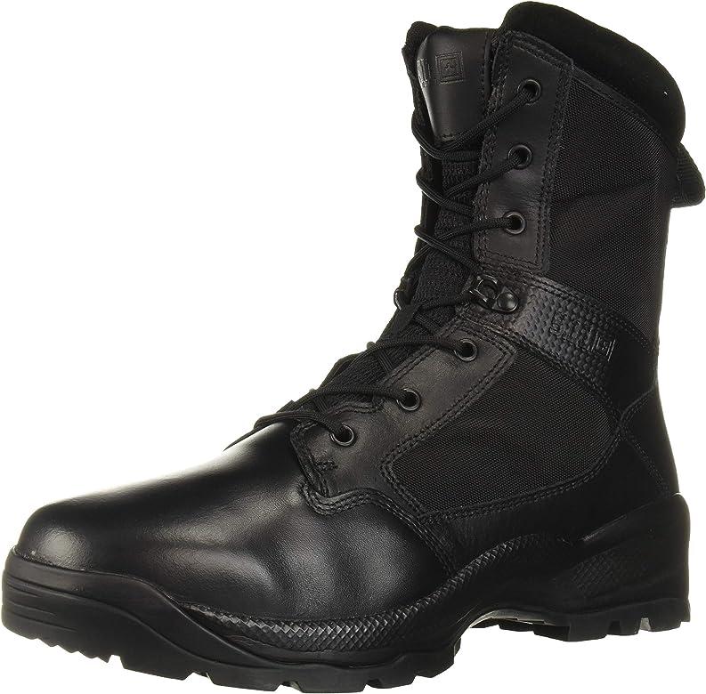 black combat work boots