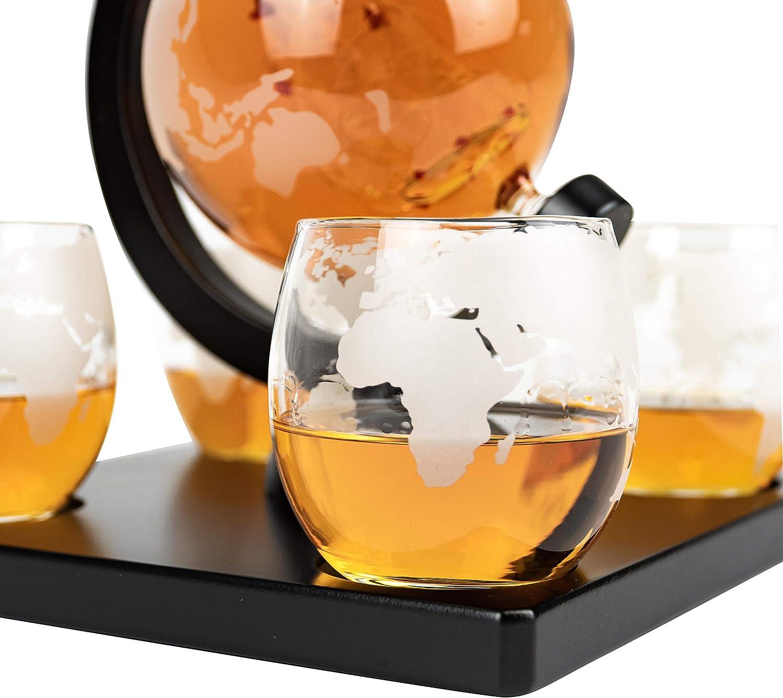 Caraffa decanter World Globe per whisky di lusso Whiskey /® con 8 pietre da whisky 0,9 l sacchetto regalo e 4 bicchieri