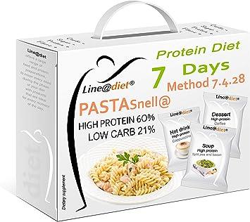 Dieta proteínica con pasta Line@diet | Opción A | 21 preparaciones + 7 bolsas de pasta con 60% de proteína | Una dieta semanal completa