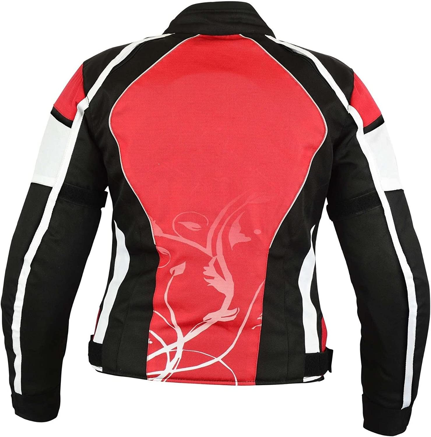 All Weather Ladies Motorbike Jacket Women Waterproof Motorcycle Gears Clothing in Cordura Fabric with Armours Spiral Dotted First Textured Red
