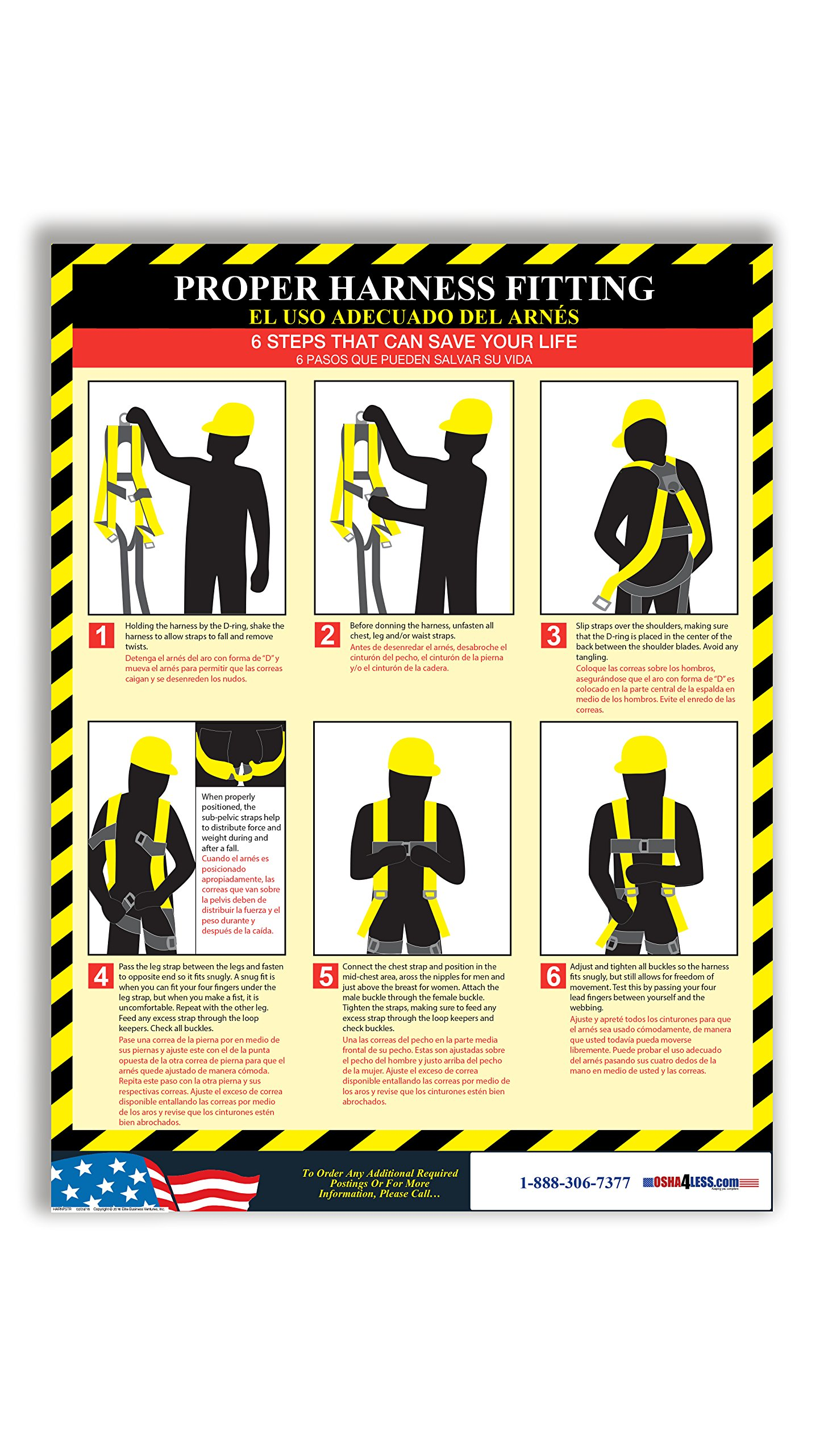 Proper Harness Fitting Poster (Bilingual) by Osha4Less