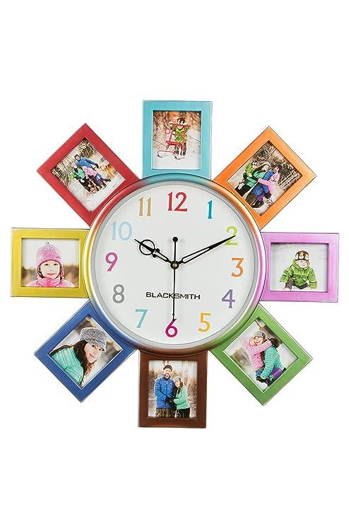 Buy Blacksmith Plastic Multi Photo Frame Wall Clock 41 Cm X 41 Cm
