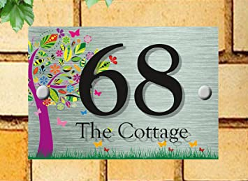 Modern acrylic house sign MULTI COLOUR TREE house sign design