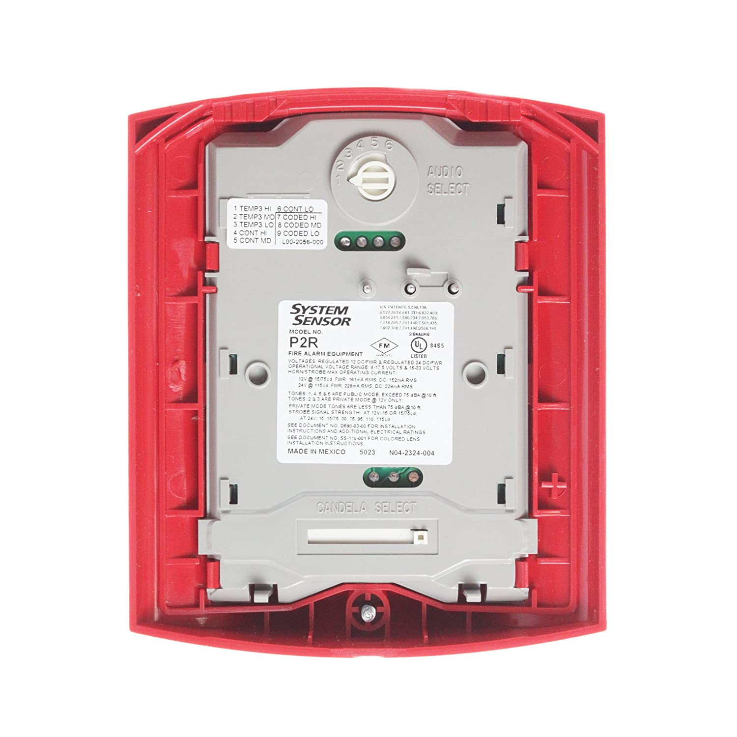 Horn Strobe, Wall, 2-Wire, Std Candela, Red - Fire Alarm - Amazon.com