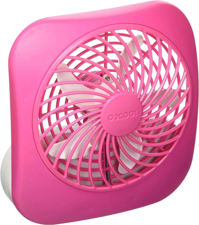 O2COOL Treva 5-Inch Portable Desktop Air Circulation Battery Fan | 2 Cooling Speeds, Compact Folding & Tilt Design, Raspberry