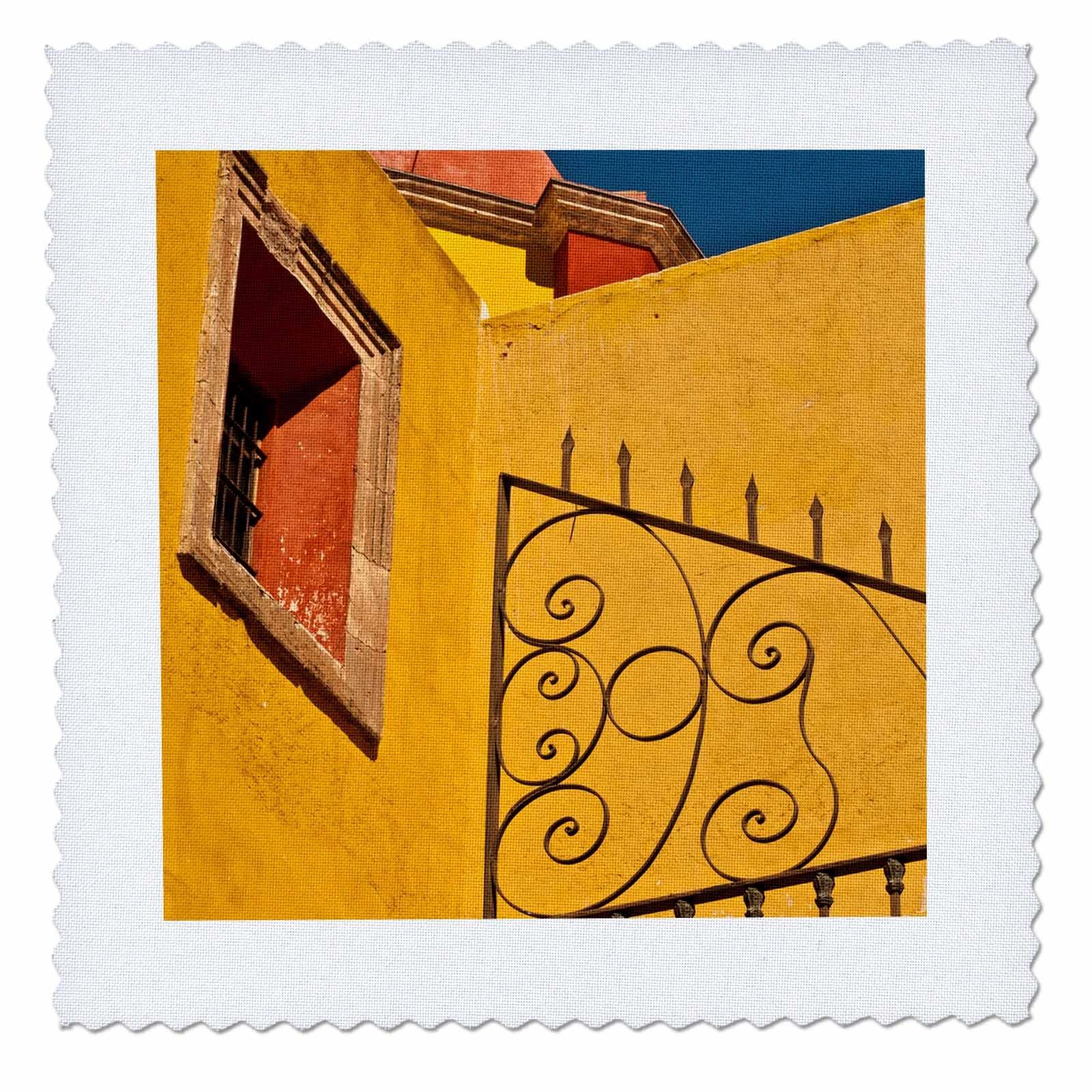 3dRose Danita Delimont - Architecture - Mexico, Guanajuato. Wrought iron fence against a yellow church. - 18x18 inch quilt square (qs_258502_7)