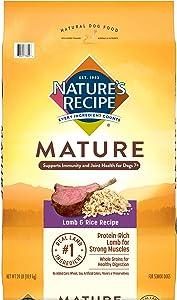 Nature's Recipe Mature Dry Dog Food for Senior Dogs, Lamb & Rice