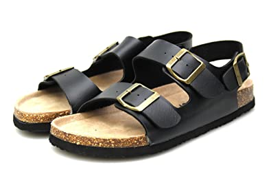 98cbca4d2fdffe Mens Leather Lined Two Strap Buckle Open Toe Beach Summer Sandals All Sizes  6 7 8 9 10 11 (UK 7 EU 41
