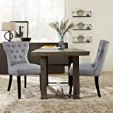 NOBPEINT Dining Chairs Leisure Padded Chairs Set of 2, Nailed Trim, Gray