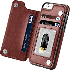 Hoofur iPhone 6s Plus Case, iPhone 6 Plus Case, Slim Fit Premium Leather iPhone 6 Plus Wallet Casae Card Slots Shockproof Folio Flip Protective Shell for Apple iPhone 6 Plus/6s Plus 5.5 inch (Brown)